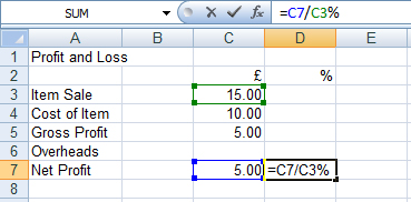 profit and loss formula in excel